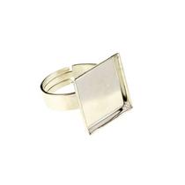 Основа для кольца с квадратной платформой, серебро 25х25 мм