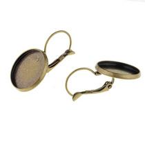 Швензы для сережек с платформой 1,4 см с краями, цвет бронза, 2 штуки
