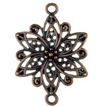 Коннектор ажурный Цветок, цвет -  бронза