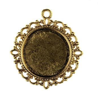 Основа для декорирования круглая 30 мм, цвет - бронза