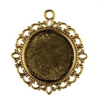 Основа для декорирования круглая 30 мм, цвет - античное золото, 1шт