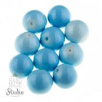 Бусины керамика,  цвет - голубой,  1 см
