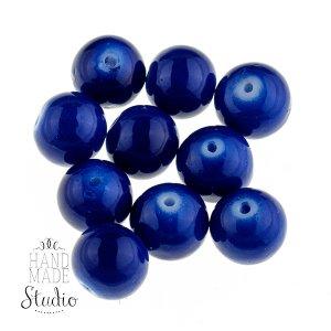 Бусины керамика,  цвет - синий,  1 см