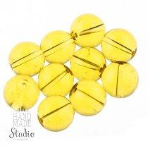 Бусины стеклянные желтые, 12 мм, №8