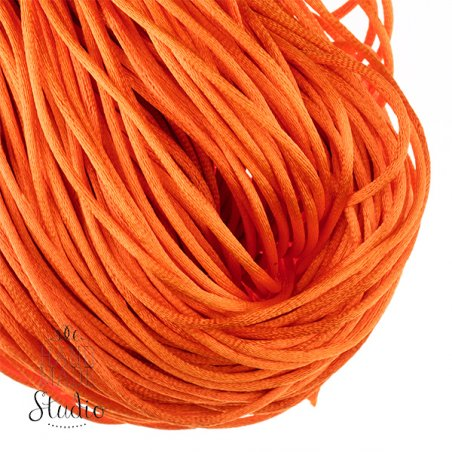 Шнурок шелковый, цвет оранжевый 3 мм