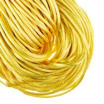 Шнурок шелковый, цвет желтый, 2 мм, 1м.