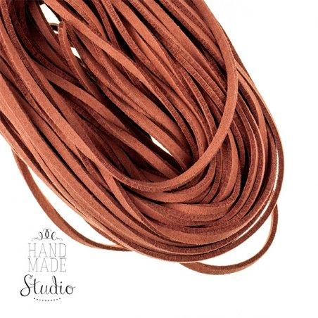 Замшевый шнур натуральный, цвет терракотовый, толщина 2,5  мм