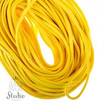 Замшевый шнур, цвет желтый, толщина 2,5  мм
