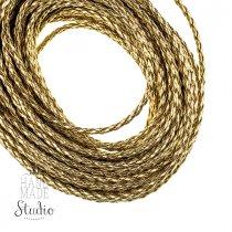 Шнур плетеный 2,5 мм, кож.зам, цвет - золотистый