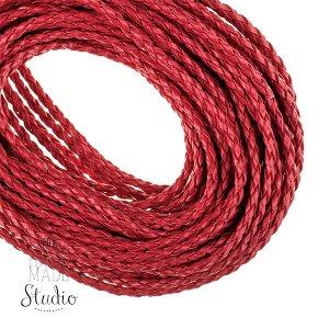 Шнур плетеный 2,5 мм, кож.зам, цвет - красный