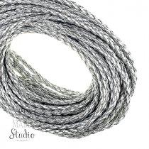 Шнур плетеный 2,5 мм, кож.зам, цвет - серебристый