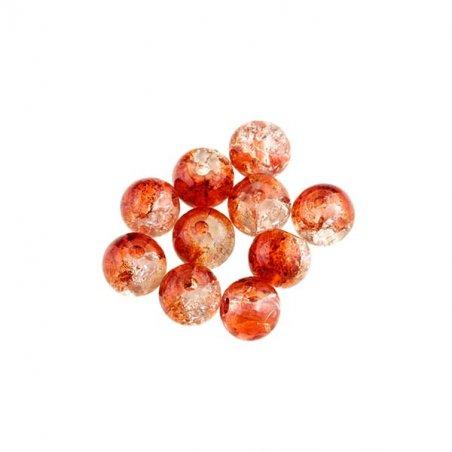 №73 Бусины с эффектом битого стекла оранжевые с белым, 1 см