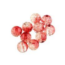№70 Бусины с эффектом битого стекла красные с белым, 6 мм