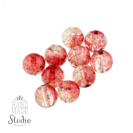 №70 Бусины с эффектом битого стекла красные с белым, 5 мм