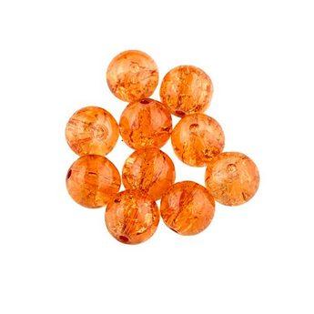 №74 Бусины с эффектом битого стекла оранжевые, 8 мм