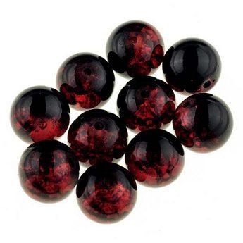 №96 Бусины с эффектом битого стекла черный с красным, 10 мм