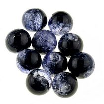 №84 Бусины с эффектом битого стекла черные с фиолетовым, 12 мм