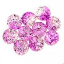 №92 Бусины с эффектом битого стекла прозрачно-розовые, 12 мм