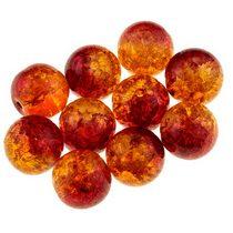 №72 Бусины с эффектом битого стекла оранжево-красные, 1,2 см, 10 шт