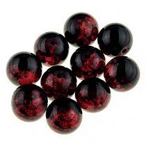 №7 Бусины с эффектом битого стекла черные с красным, 12 мм