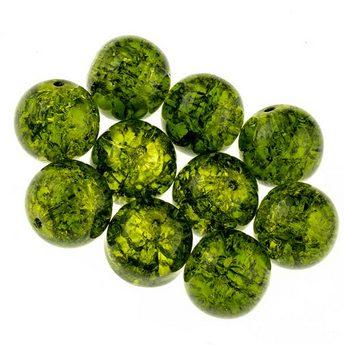 №65 Бусины с эффектом битого стекла оливковые