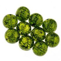№65 Бусины с эффектом битого стекла оливковые, 12 мм