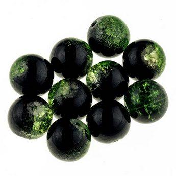 №108 Бусины с эффектом битого стекла оранжевые черные с зеленым, 12 мм