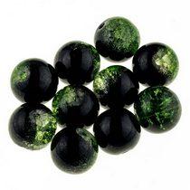 №108 Бусины с эффектом битого стекла черные с зеленым, 12 мм