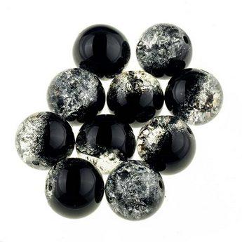 №58 Бусины с эффектом битого стекла серо-черные