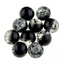 №58 Бусины с эффектом битого стекла серо-черные, 12 мм
