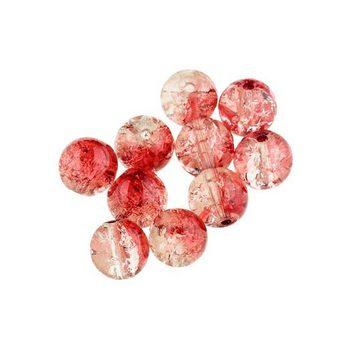 №50 Бусины с эффектом битого стекла прозрачно-красные, 10 мм