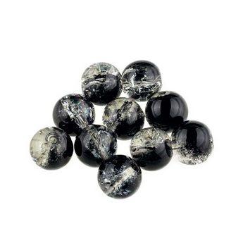 №96 Бусины с эффектом битого стекла  черные, 10 мм
