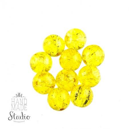 №77 Бусины с эффектом битого стекла желтые, 10 мм