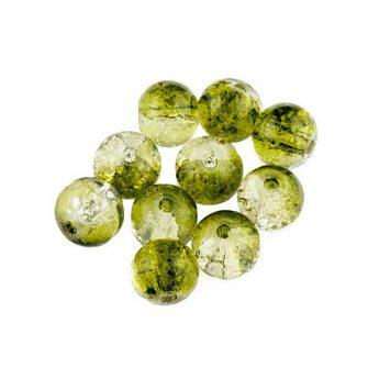 №45 Бусины с эффектом битого стекла прозрачно-зеленые, 8 мм