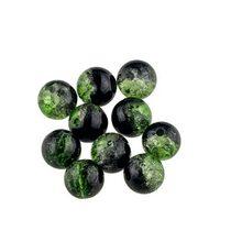 №69 Бусины с эффектом битого стекла  зеленые с черным, 8 мм