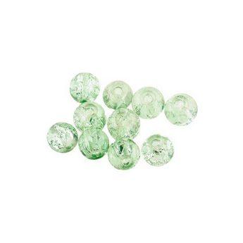 №90 Бусины с эффектом битого стекла нежно-зеленые, 6 мм