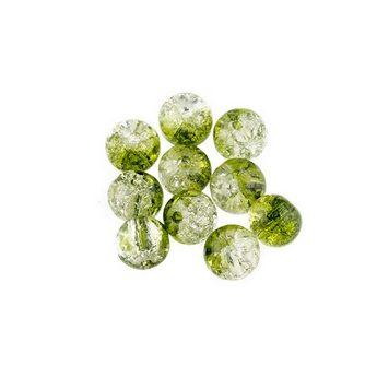 №119 Бусины с эффектом битого стекла бело-зеленые, 6 мм