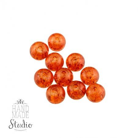 №55 Бусины с эффектом битого стекла темный оранжевый, 6 мм