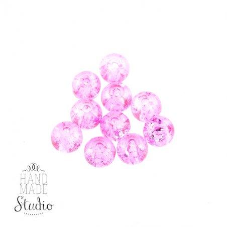 №31 Бусины с эффектом битого стекла бледно-розовые, 10 мм