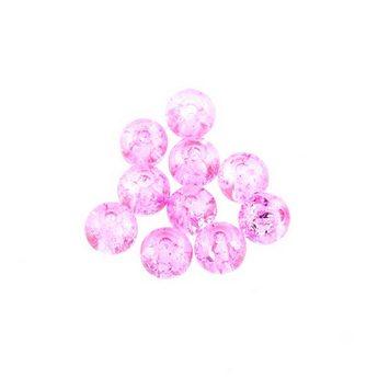 №5 Бусины с эффектом битого стекла розовые, 10 мм