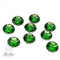 Бусина пандора граненая, стекло, цвет зеленый 15х10 мм №539