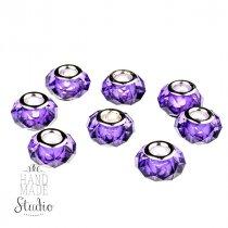Бусина пандора граненая, стекло, цвет фиолетовый 15х10 мм №531