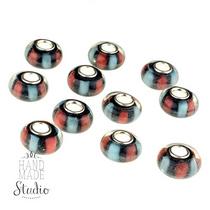 Бусина пандора круглая, стекло, цвет красный, черный, голубой 13х10 мм №318
