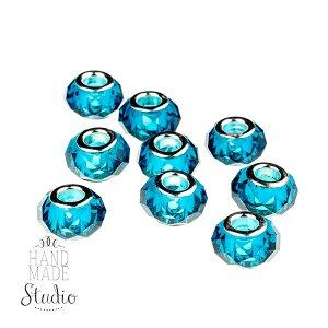 Бусина пандора граненая, стекло, цвет ярко-голубой 15х10 мм №56