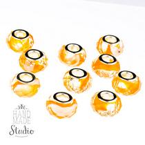 Бусина пандора граненая, стекло, цвет оранжевый разводы, 15х10 мм, №73