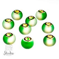 Бусина пандора круглая, матовое стекло, цвет зеленый 15х10 мм №825