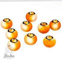 Бусина пандора круглая, матовое стекло, цвет оранжевый 15х10 мм №828