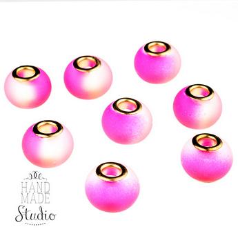 Бусина пандора круглая, матовое стекло, цвет фиолетовый 15х10 мм №824