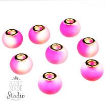 Бусина пандора круглая, матовое стекло, цвет розовый, 15х10 мм №829