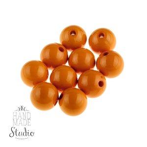 Пластиковые бусины, цвет оранжевый 1 см, №10